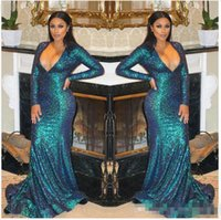 Wholesale One Shoulder Sparkled Prom Dresses - 2017 Sexy Hot Plus Size Mermaid Prom Dress Evening Dress Luxury Bling Sparkle Deep V-neck Blue Sequins Lace Long Evening Gown Prom Dresses