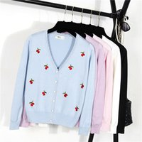 Wholesale Ladies Cherry - Wholesale-2016 New Jacket Women Shawl Sweater Lady Slim V-Neck Cardigan Long-sleeved Knit Cardigan Cherry Embroidered Cardigan Sweater