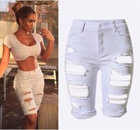 Wholesale Womens Torn Jeans - Wholesale- 2016 Hot Sale New Fashion Women Casual White High Waist Torn Jeans Hole Knee Skinny Knee Length Denim Ripped Jeans For Womens