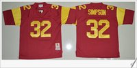 Wholesale Cheap Jersey For Football Team - USC Trojans #32 O.J Simpson American College Football Vintage Stitched Embroidery Mens team Pro Sports Jerseys Cheap Sz M-XXXL For Sale