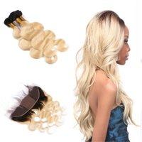 Dark Root Blonde 1B 613 Body Wave Cheveux humains avec dentelle Frontale Ombre Silk Base 4x4 Lace Frontal avec Ombre Hair Weaves