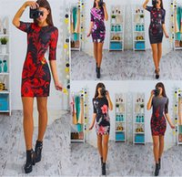 Wholesale Elegant Dress Vintage Casual Evening - Womens Dresses Elegant Vintage Flower Floral Print Slim Tunic Casual Vestidos Party Evening Pencil Sheath Bodycon Dress