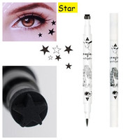 Wholesale Side Tattoos - Wholesale- Wholesale Fashion 2 Side Black Liquid Eyeliner Waterproof Eye Liner Pencil Maquillaje Star Heart Shape Dot Stamp Tattoo Cosmetic