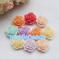 Wholesale Plastic Mixed Rose Beads - Mix Color Resin Rose Cabochons Flat Back Flower Beads no hole Mobile Case Scrapbooking 30-100pcs 8 10 11 18 24mm