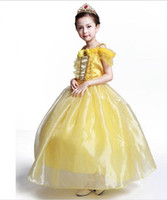 Wholesale Teenage Girls Yellow Dresses - 2017 Beauty And The Beast Cosplay Costume for Girls Halloween Costume for Kids Princess Belle Dress for Party Yellow Long Dress