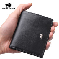 Wholesale Wholesalers For Small Businesses - Wholesale- BISON DENIM Short Wallets For Men Genuine Leather Wallet Men Coin Pocket Card Holder Purse Mini Small Wallet Business gift