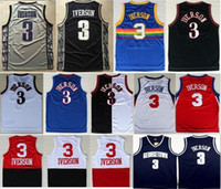 Wholesale Embroidery Sports Jerseys - High Quality Free Shipping Retro #3 Allen Iverson Sport Jersey Throwback Jerseys Embroidery Logo Mesh Black White Shirt Georgetown Hoyas