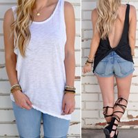 Wholesale Long Black Tank Shirt Women - Hot Summer Women's Fashion Tops Sexy Backless Tank Tops Tee Solid Color Casual T shirts ZL3051