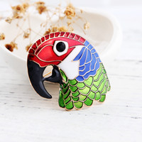 Wholesale Holidays Brooches - Different Beautiful Colorful Parrot Brooches Bird Brooches Gold Color Enamel Decoration Accessories Shirt Corsage Souvenir Holiday Gift