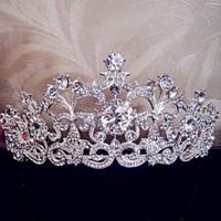 rosa roja de la perla de la vendimia al por mayor-Lujo nupcial boda tiara corona de cristal adornado accesorios para el cabello para quinceañera desfile princesa boda corona tiara rhinestones 2019