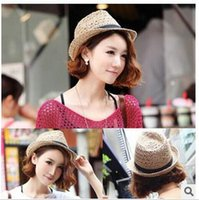 Wholesale Korean Straw Cowboy Hat - Small pepper hat female summer new Korean hollow breathable hemp straw hat Sir cap \sun hat