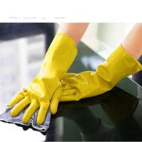 длинные перчатки оптовых-Чистящие перчатки Перчатки для мытья посуды Резиновые домашние варежки Рукавицы из латекса Длинные кухонные принадлежности Мыть посуду Рукавицы Высокое качество 0 92рр R