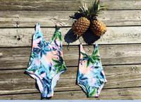 traje de baño al por menor al por mayor-Venta al por menor de la familia traje de baño traje de baño madre hija ropa de coco árbol leopardo bikini playa de verano traje de baño E3221