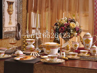 Wholesale Bone China Dinner Plate Sets - 2017 table set service for 6 in-glaze fine bone china tableware set coffee cup dinner plate wedding gift