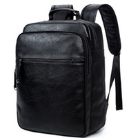 Wholesale Leather Backpack Camping - Unisex leather backpacks for camping leather man backpack Travel Laptop Bags Camping large capacity Travel Bagpack out274