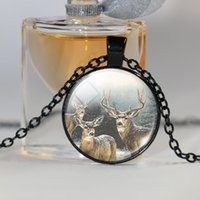 Wholesale Christmasgift Plates - cute deer pendant necklace christmasgift art picture glass cabochon necklace silver antique bronze chain necklace