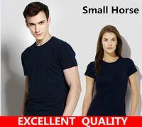 Wholesale High Quality Clothing Brands - T-Shirt Men Black T Shirt High quality Small Horse Embroidery Round collar Men Fashion men T Shirts Casual brand Clothing Cotton 3D Tshirt