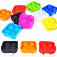Wholesale Ice Ball Sphere Maker - 4 Balls Whiskey Ice Cube Maker Mold Sphere Mould Party Tray Round Bar Silicone Ice Ball Mold Tray Ice Moldes 10 color KKA1563