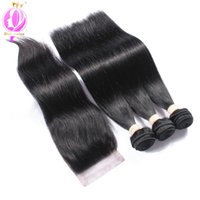 Wholesale Top Knots Hair Wholesale - Amazing 7A Brazilian Straight Hair With Closure Top 4*4 Bleached Knots Cheap 3 Bundles Straight Virgin Hair With Lace Closure