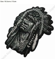"Wholesale Chief Skull - 4"" Large FEATHERED INDIAN CHIEF HEAD DEATH SKULL Chopper Outlaw MC Embroidered Biker Vest Patch IRON ON Badge emblem Jacket"