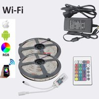 Wholesale Neon Lights Power Supply - Wifi 10M RGB LED Strip DC12V LED strip Light 5050 SMD Fita Led Neon Ribbon tape with Wifi controller + Power Supply