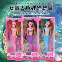 Wholesale Doll Sound Box - New quality boxed 3D, American pupil lights, Mermaid Princess Dolls, toy girls gifts, fishtail swings