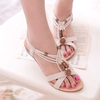 Wholesale Girl Wedges - Newest Bohemia Beach Wedge Sandals Summer Black And White Shoes Sandals Girls Fashion Slippers With High Quality