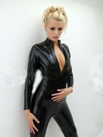 Wholesale ladies leather catsuit - New Ladies Sexy Front Zipper Jumpsuit Gothic Fetish Clubwear Queen loaded Latex Faux Leather Catsuit Club Bar Costume Bodysuit