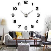 Diy Clock Home Decor Pas Cher-Grossiste-Moderne Mur Autocollant DIY Grande Horloge Murale 3D Miroir Surface Autocollant Home Décor Décoration Bureau