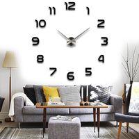 venta al por mayormodern wall sticker diy reloj de pared grande d espejo superficie