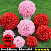 Wholesale Wedding Kissing Balls Wholesale - Elegant White Artificial Rose Silk Flower Ball Hanging Kissing Balls 15CM~60CM 6Inch~24Inch rose Ball For Wedding Party Decoration F03-03