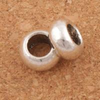 ingrosso perline europee di distanziometro metallico-Smooth Circle Spacer Metallo Big Hole perline 100 pz / lotto 9.5x9.5x5.5mm Argento Antico Misura Braccialetti di Fascino Europeo Gioielli FAI DA TE L1363