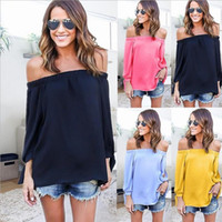 Wholesale Led Panel T Shirt - Sexy Strapless Long Sleeve One Word Lead Chiffon T Goods In Stock womens ladies t-shirt rabbit cotton blouse bear