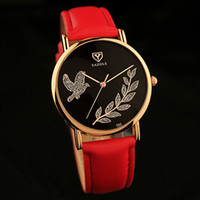 Wholesale Famous Beautiful - Relogio Feminino Beautiful ladies wrist watches for women Watch flower 2017 Casual Brand Famous Female Clock Red Leather