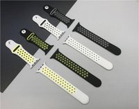 Wholesale Silicone Rubber Band Watches - 1:1 Silicone Sport Band For Apple Watch Hole Sport Band Replacement Breathable Soft Rubber Wrist Strap Holes Black Volt Gray Silver DHL
