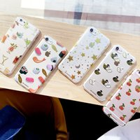 Luxo Gold Stamping Cartoon Cute Fish Star Fruit Case para iPhone 7 6 6s plus tpu Mobile Cell Cover
