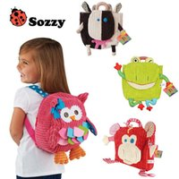 Wholesale Wholesale Baby Cotton Backpack - 25cm Children SOZZY School Bags Lovely Cartoon Animals Backpacks Baby Plush Shoulder Bag Schoolbag Toddler Snacks Book Bags Kids Gift
