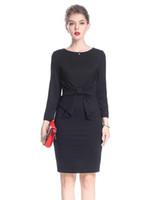 Wholesale Mini Bow Tie - 2017 Bow Tie Sheath Women Dress Elegant 3 4 Sleeve Dresses 0917161
