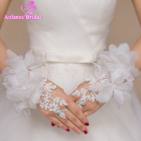 Wholesale Ivory Lace Bridal Gloves - Beaded 3D Flowers Lace Short Wrist Bridal Gloves Fingerless Wedding Gloves 2017 Hot Sale White Wedding Accessories Bride Gloves