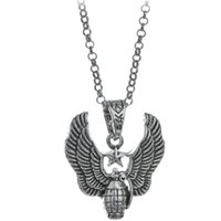 Wholesale Grenade Pendant Silver - Vintage Alloy Punk Rock pioneer of fashion trendsetter Hipster Necklace Pentagram angel wings Pendant hand Grenade Necklace man x386