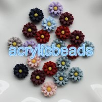 Wholesale Assorted Flower Cabochon - 100PCS Assorted Mix Colors Resin Flower Cabochon Flatback Beads Jewelery Art Craft no Hole Supplies 12MM 13MM 25MM