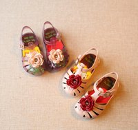 Wholesale Baby Sandles - Mini SED Girl Flower Baby Jelly Shoes Plain Rain Boot Toddler Kids Shoes Children Beach Sandles Princess Shoes Sapato