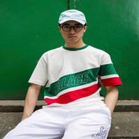 Wholesale Men S Red Stripe Shirt - 2018 UK Short Sleeve T Shirt PALACE Red Green Stripe Cotton T-shirts Green O Collar USA Size in stock dongguan_wholesale