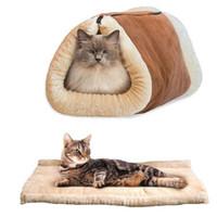 katlanabilir ped toptan satış-Katlanabilir Yumuşak Sıcak Kedi Köpek Mağarası Pet Yatak Evi Yavru Uyku Mat Pad Yuva Pet Yatak Köpek Battaniye Hayvan