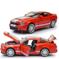 Wholesale 4 Colors Scale Alloy Diecast Car Model Toys Ford Mustang GT500 Model With light amp sound Kids Toys Gifts Collections