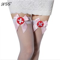 Wholesale Sexy Socks Uniform - Wholesale- Nurses uniforms temptation sexy stockings White knee stockings