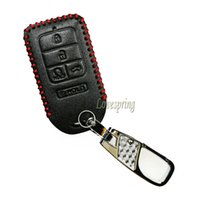 Wholesale Honda Fob Case - Leather 5Buttons Smart Key Fob Cover Case Protector Keychain for A2C81642600 2015 2016 2017 Honda Civic Accord Pilot CR-V