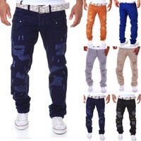Wholesale Designer Mens Cargo Pants - Wholesale- 6 color 2016 New Famous Brand Vintage Men designer Casual Hole Ripped Jeans Mens Fashion Skinny Denim Cargo Pants Hip-hop Male