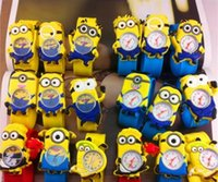 Wholesale Minions Watches - Hot Silicone Slap Boy Girls Wristwatch 2 Despicable Me Kids Yellow Minion Watch Children 3D Cartoon watches DHL Free Shipping