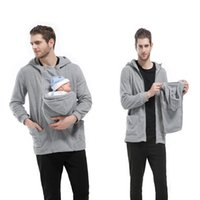 Wholesale Polar Fleece Jackets - 3 colors Maternity Zipper Outwear Father's Carrier Baby Holder Jacket Polar Fleece Multi-functional Kangaroo Baby Carrier Dad's coat
